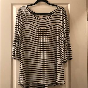 Plus Size Black and White Stripped Top
